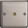XS8 Varilight 1 Gang Co-axial TV Socket, Classic Brushed Steel