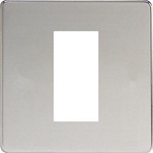 XDCG1S Varilight Single Size Data Grid Face Plate For 1 Data Module Width, Dimension Screwless Polished Chrome