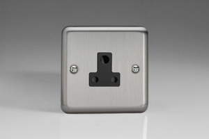 XSRP5AB Varilight 1 Gang, 5 Amp Round Pin Socket, Classic Brushed Steel