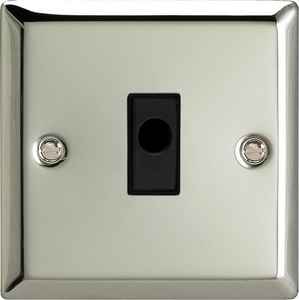 XCFOB Varilight Flex Outlet Plate with Cable Clamp. Black insert, Classic Polished Chrome (also known as Classic Mirror Chrome)