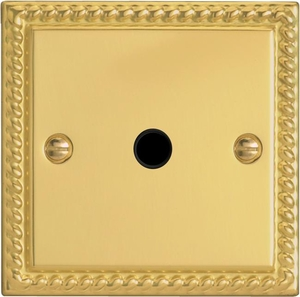 XGFOB Varilight Flex Outlet Plate with Cable Clamp. Black insert, Classic Georgian Polished Brass Effect