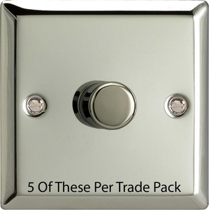 HC3-P5 This is a Trade Pack with 5 Units per box. Varilight V-Dim Series, 1 Gang, 1 or 2 Way 400 Watt Dimmer, Classic Polished Chrome
