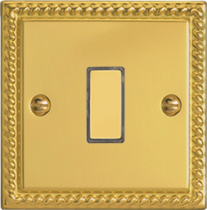 JGES001 - Varilight V-Pro Series Eclique2, 1 Gang Tactile Touch Button Slave Unit for 2 way or Multi-way Circuits Only, Classic Georgian Polished Brass Effect