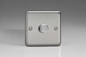HS3 Varilight V-Dim Series 1 Gang, 1 or 2 Way 400 Watt Dimmer, Classic Brushed Steel