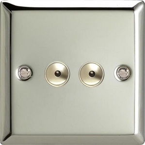 ICI402M Varilight 2 Gang, 1 or 2 Way or Multi-way 2x400 Watt Touch/Remote Master Dimmer, Classic Polished Chrome