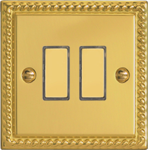 JGES002 - Varilight V-Pro Series Eclique2, 2 Gang Tactile Touch Button Slave Unit for 2 way or Multi-way Circuits Only, Classic Georgian Polished Brass Effect