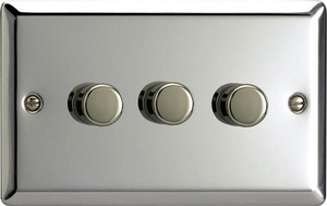 Varilight JCDP503, V-Pro Series, 3-Gang 2-Way Push-On/Off Rotary LED Dimmer 3 x 10-250W (Max 30 LEDs) (Twin Plate), Classic Polished Chrome
