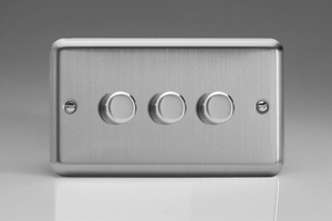 HS73-SP Varilight V-Dim 3 Gang, 1 or 2 Way 3x120 Watt Dimmer For Energy Saving Lamps, Classic Brushed Steel (Bespoke)