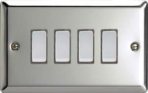JCES004 - Varilight V-Pro Series Eclique2, 4 Gang Tactile Touch Button Slave Unit for 2 way or Multi-way Circuits Only, Classic Polished Chrome