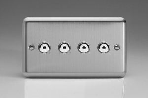 ISI254M Varilight 4 Gang, 1 or 2 Way or Multi-way 4x250 Watt Touch/Remote Master Dimmer, Classic Brushed Steel