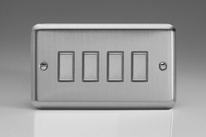 JSES004 - Varilight V-Pro Series Eclique2, 4 Gang Tactile Touch Button Slave Unit for 2 way or Multi-way Circuits Only, Classic Brushed Steel