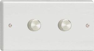 Varilight JQDP402A, V-Pro Series 2 Gang, 1 or 2 Way, Push-On/Off Rotary LED Dimmer 2 x 0-120W (1-10 LEDs) (Twin Plate), Classic White Plastic, Aluminium Dimmer Knobs