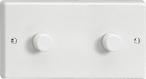 Varilight JQDP402W, V-Pro Series 2 Gang, 1 or 2 Way, Push-On/Off Rotary LED Dimmer 2 x 0-120W (1-10 LEDs) (Twin Plate), Classic White Plastic