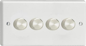 Varilight JQDP254A, V-Pro Series 4 Gang, 1 or 2 Way, Push-On/Off Rotary LED Dimmer 4 x 0-120W (1-10 LEDs) (Twin Plate), Classic White Plastic, Aluminium Dimmer Knobs