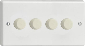Varilight JQDP254W, V-Pro Series 4 Gang, 1 or 2 Way,Push-On/Off Rotary LED Dimmer 4 x 0-120W (1-10 LEDs) (Twin Plate), Classic White Plastic