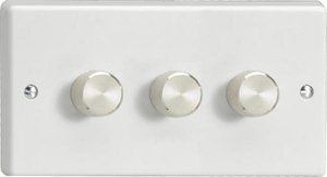 Varilight JQDP303A, V-Pro Series 3 Gang, 1 or 2 Way, Push-On/Off Rotary LED Dimmer 3 x 0-120W (1-10 LEDs) (Twin Plate), Classic White Plastic, Aluminium Dimmer Knobs