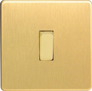 XEB1S Varilight European 1 Gang (Single), 1 or 2 Way 10 Amp Switch, Dimension Screwless Brushed Brass Effect
