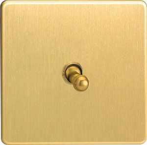 XEBT1S Varilight European 1 Gang (Single), 1 or 2 Way 10 Amp Classic Toggle Switch, Dimension Screwless Brushed Brass Effect