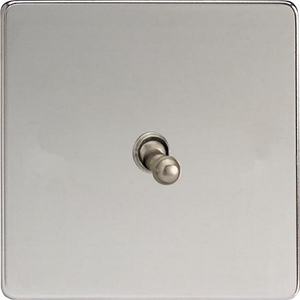 XECT1S Varilight European 1 Gang (Single), 1 or 2 Way 10 Amp Classic Toggle Switch, Dimension Screwless Polished Chrome