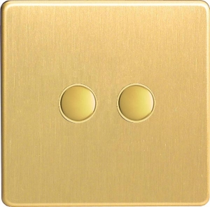 XEBP2S Varilight European 2 Gang (Double) 1 or 2 way 6 Amp Push-on Push-off Switch (impulse), Dimension Screwless Brushed Brass Effect