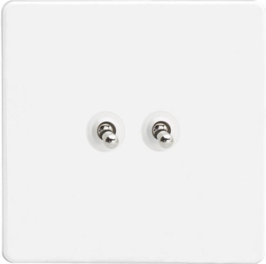 XEQT2S Varilight European 2 Gang (Double), 1 or 2 Way 10 Amp Classic Toggle Switch, Dimension Screwless Premium White