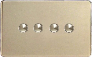 XDNP4S Varilight 4 Gang (Quad) 1 or 2 way 6 Amp Push-on Push-off Switch (impulse), Dimension Screwless Satin Chrome