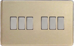 XDN96S Varilight 6 Gang 1or 2 Way 10 Amp Switch, Dimension Screwless Satin Chrome (Double Plate)