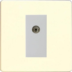 XDWG8ISOWS Varilight 2 Gang (Double), Isolated Co-axial TV Socket, Dimension Screwless White Chocolate