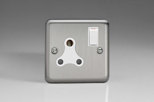 XSRP15AW Varilight 1 Gang, 15 Amp Round Pin Socket, Classic Brushed Steel