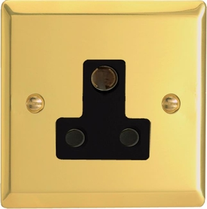 XVRP15AB Varilight 1 Gang (Single), 15 Amp Round Pin Socket, Classic Victorian Polished Brass Effect