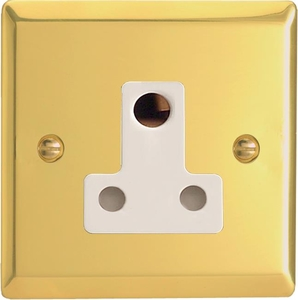 XVRP15AW Varilight 1 Gang (Single), 15 Amp Round Pin Socket, Classic Victorian Polished Brass Effect