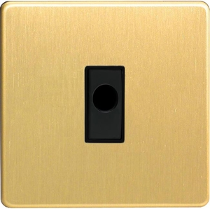 XDBFOBS-SP Varilight Flex Outlet Plate with Cable Clamp, Black insert, Dimension Screwless Brushed Brass Effect. (Bespoke & Special)