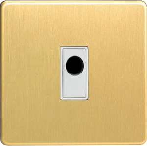 XDBFOWS-SP Varilight Flex Outlet Plate with Cable Clamp, White insert, Dimension Screwless Brushed Brass Effect. (Bespoke & Special)