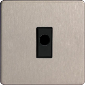 XDSFOBS-SP Varilight Flex Outlet Plate with Cable Clamp, Black insert, Dimension Screwless Brushed Steel. (Bespoke & Special)