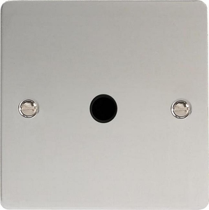 XFCFOB-SP Varilight Flex Outlet Plate with Cable Clamp. Black insert, Ultra Flat Polished Chrome (Bespoke & Special)