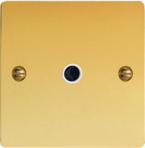 XFVFOW-SP Varilight Flex Outlet Plate with Cable Clamp. Black insert, Ultra Flat Polished Brass Effect (Bespoke & Special)