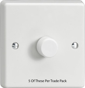 HQ5W-P5   This is a Trade Pack item: 5 Units per box. Varilight V-Dim (Standard) Series, 1 Gang 1 Way 250 Watt Dimmer, Classic White Dimmer