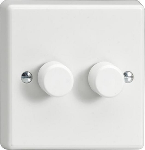 HQ77W-SP Varilight V-Dim 2 Gang, 1 or 2 Way 2x120 Watt Dimmer For Energy Saving Lamps, Classic White Dimmer (Bespoke)