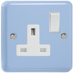 XY4W.DB Varilight 1 Gang (Single), 13 Amp Switched Socket, Classic Lily Duck Egg Blue