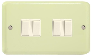 XY9W.WC Varilight 4 Gang (Quad), 1or 2 Way 10 Amp Switch, Classic Lily White Chocolate