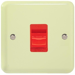 XY45SW.WC Varilight 45 Amp Cooker Switch (Single Size), Classic Lily White Chocolate