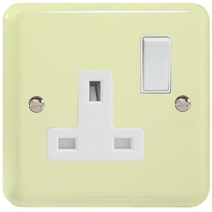 XY4W.WC Varilight 1 Gang (Single), 13 Amp Switched Socket, Classic Lily White Chocolate