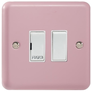 XY6W.RP Varilight 1 Gang (Single), 13 Amp Switched Fused Spur, Classic Lily Rose Pink