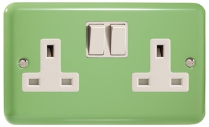 XY5W.BG Varilight 2 Gang (Double), 13 Amp Switched Socket, Classic Lily Beryl Green