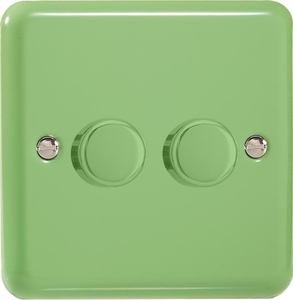 HY83.BG Varilight V-Dim 2 Gang, 1 or 2 Way 2x400 Watt Dimmer, Classic Lily Beryl Green
