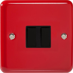 XY2B.PR Varilight 2 Gang (Double), 1 or 2 Way 10 Amp Switch, Classic Lily Pillar Box Red