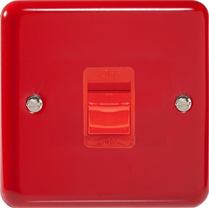 XY45SB.PR Varilight 45 Amp Cooker Switch (Single Size), Classic Lily Pillar Box Red