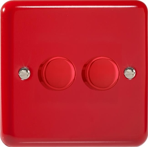 HY83.PR Varilight V-Dim 2 Gang, 1 or 2 Way 2x400 Watt Dimmer, Classic Lily Pillar Box Red