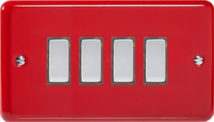 JYES004.PR - Varilight V-Pro Series Eclique2, 4 Gang Tactile Touch Button Slave Unit for 2 way or Multi-way Circuits Only, Classic Lily Pillar Box Red