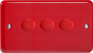 Varilight JYDP303.PR V-Pro Series 3 Gang, 1 or 2 Way  Push-On/Off Rotary LED Dimmer 3 x 0-120W (1-10 LEDs) (Twin Plate), Classic Lily Pillar Box Red